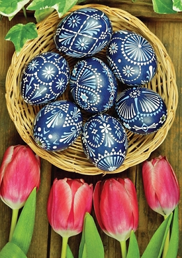 Tulips and Eggs Paschal Note Card (7 Blue Eggs)