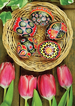 Tulips and Eggs Paschal Note Card (5 Colored Eggs)