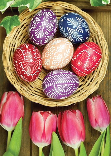 Tulips and Eggs Paschal Note Card (6 Colored Eggs) (Pkg of 10)